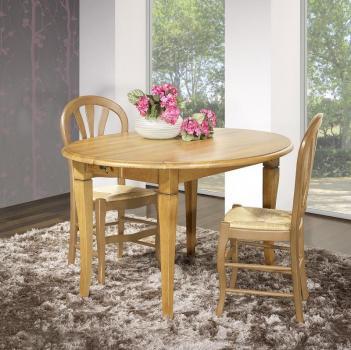 Table ovale à volets 135x110  en Chêne Massif de style Louis Philippe 4 allonges de 40 cm