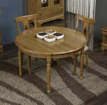 Table ronde Richard réalisée en Chêne Massif de style Louis Philippe DIAMETRE 110 - Patine antiquaire