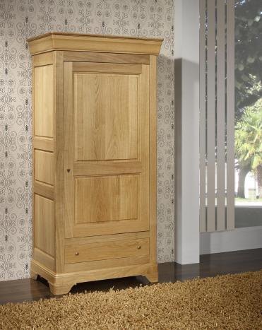 Bonnetière 1 porte 1 tiroir Sébastien  en Chêne massif de style Louis Philippe Finition traditionnelle