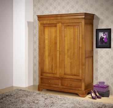 Petite armoire 2 portes 2 tiroirs Inès en merisier massif de style Louis Philippe SUR MESURE