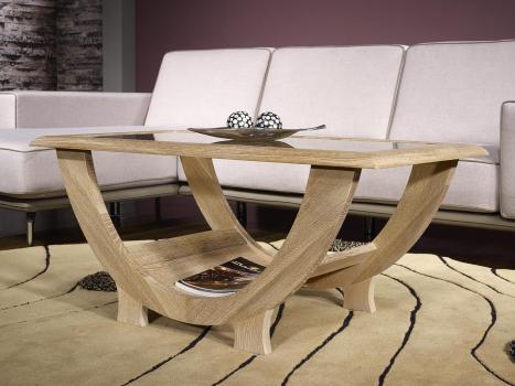 Table Basse Rodrigue en Chêne Massif plateau verre Finition Chêne Brossé Blanchi