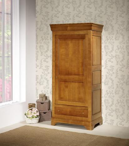 Bonnetière 1 porte 1 tiroir Sophie  en Merisier massif de style Louis Philippe