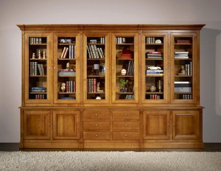 Bibliothèque 2 corps 6 portes Sabine  en Merisier Massif de style Directoire
