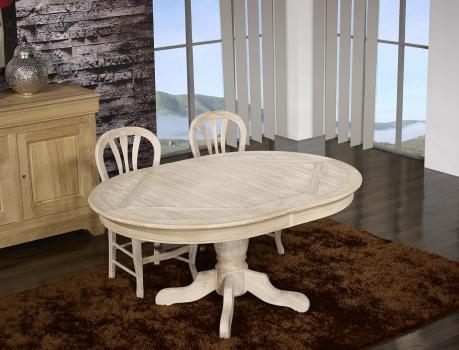 Table ovale Clément 160x120 pied central  en Chêne de style Louis Philippe Finition Chêne Brossé Blanchi