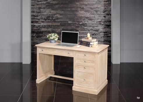 Bureau 5 tiroirs   en Chêne de style Louis Philippe Finition Chêne Brossé Blanchi