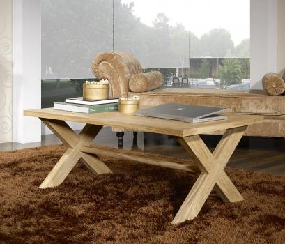 Table basse rectangulaire Jules  en chêne de style Campagnard Finition Chêne Brossé Naturel