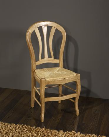 Lot de 4 chaises Hugo  en Chêne Massif de style Louis Philippe Assise paille