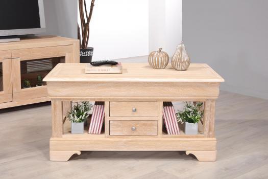 Table Basse   en Chêne de style Louis Philippe Finition Chêne Brossé Blanchi