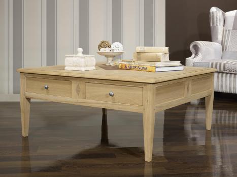 Table basse carrée Justin réalisée em Chêne de style Directoire avec Marquetterie