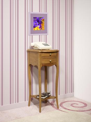 Table de téléphone 2 tiroirs Lucas  en Chêne de style Louis XV