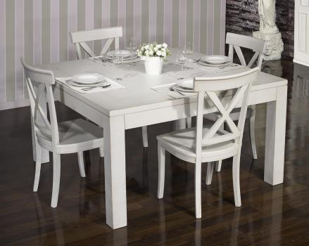 Table de salle à manger 120*120 CONTEMPORAINE  en Chêne Finition Chêne Brossé Gris Perle