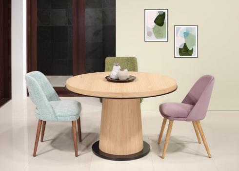 Table ronde cylindre en chêne diamètre de 115 cm + 1 allonge de 40 cm