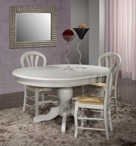 Table ovale pied central Romain  en Chêne Massif de style Louis Philippe 150x110  Finition Chêne Brossé Gris Perle