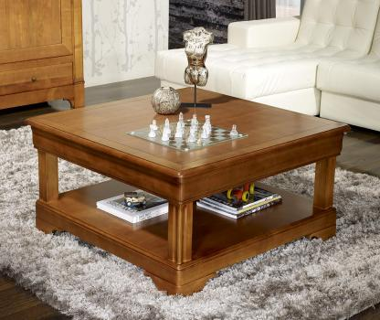 Table basse carrée   en Merisier de style Louis Philippe