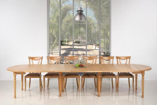 Table ronde à volets Diamètre 120  en chêne massif de style Louis Philippe 7 allonges de 40 cm SEULEMENT 1 DISPONIBLE