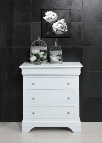 Commode 4 tiroirs Guillaume  en chêne de style Louis Philippe Finition Chêne Brossé Ivoire