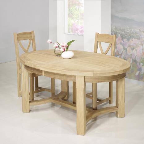 Table de ferme ovale Tom  en Chêne Massif de style Campagnard 170*110 Finition brossé naturel SEULEMENT 1 DISPONIBLE