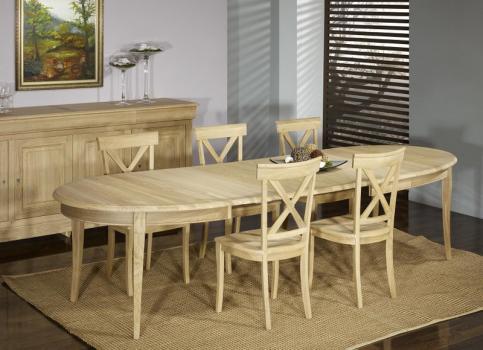 Table ovale 170*110 Romain, réalisée en Chêne Massif de style Louis Philippe 5 allonges de 40 cm Finition Chêne Brossé