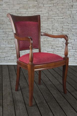 Fauteuil ine  en Merisier Massif de style Louis Philippe Tissu VALDOURO VERSATIL 39