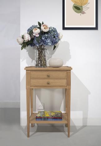 Meuble d'appoint Stéphane ou meuble téléphone  en Chêne massif de style Directoire Finition Chêne Brossé Naturel