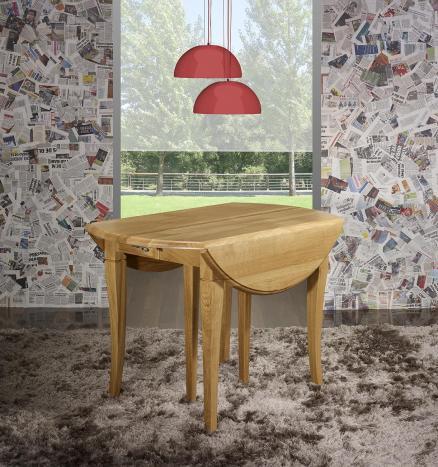 Table ronde à volets  en Chêne Massif de style Louis Philippe Diamètre 110 - 4 allonges de 40 cm