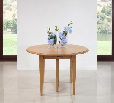 Table ronde à volets  en Chêne Massif de style Louis Philippe 6 pieds Fuseaux Diamètre 120 et 3 allonges de 40 cm