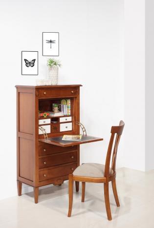 Secrétaire 4 tiroirs   en merisier de style Directoire Tiroirs intérieurs Ivoire