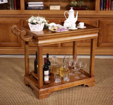 Table desserte roulante en merisier de style Louis Philippe avec 1 tiroir SEULEMENT 1 DISPONIBLE