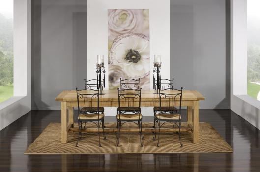 Table de Ferme Axel  en Chêne Massif 250x100 + 2 allonges de 45 cm Finition Chêne Brossé