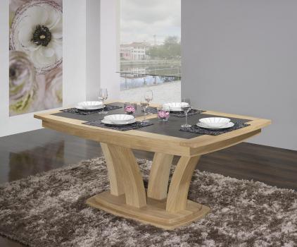 Table de repas Contemporaine 160x110 réalisée en Chêne massif avec céramique Finition CHENE BROSSE