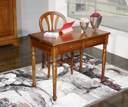 Table d'écriture 2 tiroirs e  en Merisier de style Louis Philippe