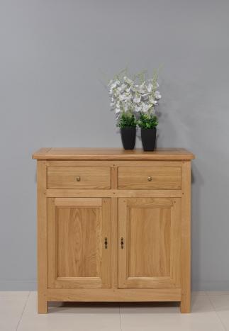 Petit buffet 2 portes 2 tiroirs  en Chêne massif de style campagnard Finition chêne naturel