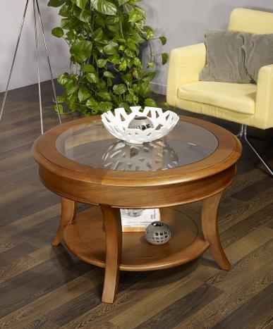 Table basse ronde Gaël réalisée en Chêne Massif de style Louis Philippe Plateau Verre Diamètre 70 cm Finition Cirée