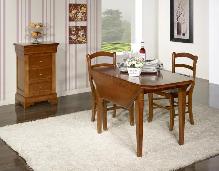Table à volets octogonale 120x120  en Merisier Massif 4 pieds fuseaux 2 allonges de 40 cm