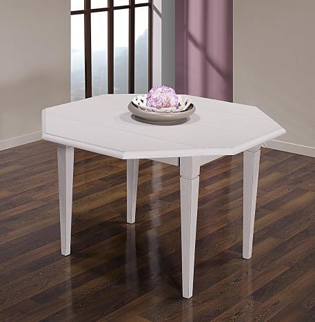 Table à volets octogonale 120x120  en Chêne Massif 4 pieds fuseaux 2 allonges de 40 cm  CHENE BROSSE GRIS PERLE