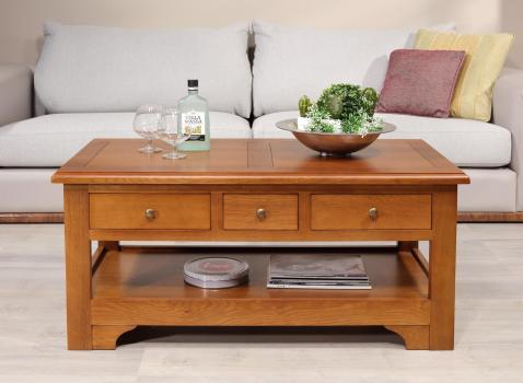 Table basse rectangulaire Jean-Baptiste réalisée en chêne de style Louis Philippe Campagnard