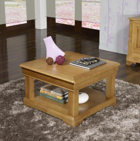 Table basse carrée Ines 65x65  en Chêne de style Louis Philippe