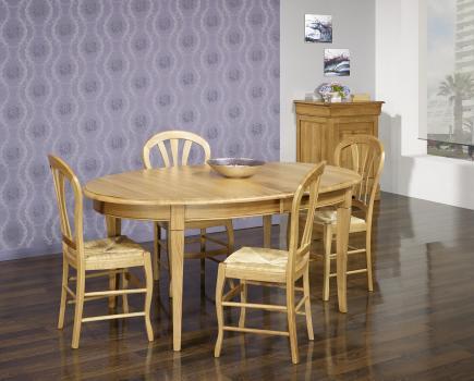 Table ovale  en Chêne massif de style Louis Philippe Finition Chêne Doré 160x120