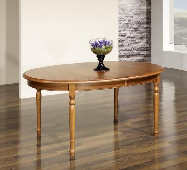 Table ovale 170x100  en Chêne massif de style Louis Philippe avec 4 allonges de 40 cm