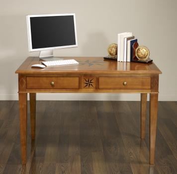 Table d'écriture 2 tiroirs ROSE DES VENTS  en Chêne de style Directoire