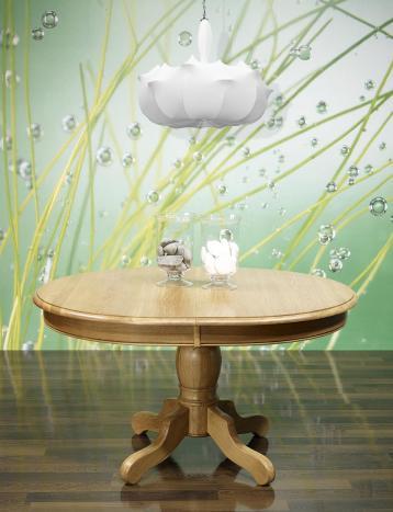 Table Ovale pied central Jérôme  en Chêne Massif de style Louis Philippe 135x110 Finition Chêne Naturel Vieilli