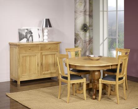 Table Ovale pied central Jérôme réalisée en Chêne Massif de style Louis Philippe 135x110 Finition Chêne Naturel Vieilli