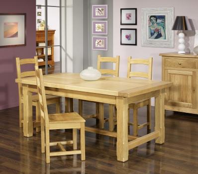 Table de ferme rectangulaire AXEL réalisée en Chêne massif 160x100 + 2 allonges de 45 cm