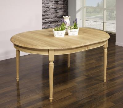 Table ovale 160x120 Lambert  en Chêne Massif de style Louis XVI Finition Chêne Brossé