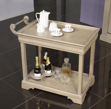 Table desserte roulante en Chêne de style Louis Philippe avec 1 tiroir Finition GRIS PATINE