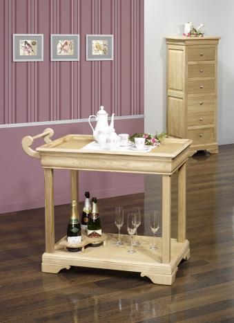 Table desserte roulante en Chêne de style Louis Philippe avec 1 tiroir Finition Chêne Brossé