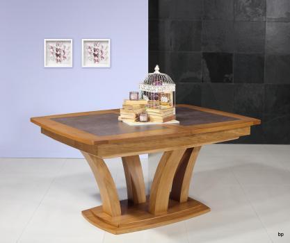 Table de repas Contemporaine 160x110 réalisée en Chêne massif avec céramique