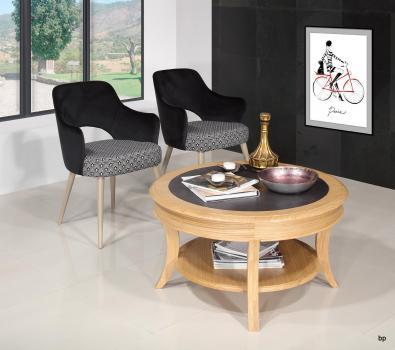 Table basse ronde Gaël  en Chêne Massif de style Louis Philippe Céramique noir incrustée
