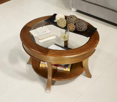 Table Basse Ronde Melodie Realisee En Merisier Massif De