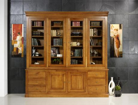 Bibliothèque 2 corps Agathe en Merisier Massif de style Louis Philippe longueur 242 cm